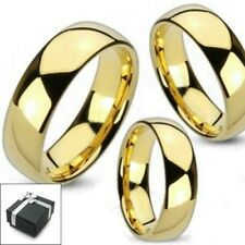 Tungsten Carbide 14K Gold Plated Plain Wedding Band Ring Comfort Fit Size 5-15