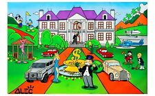 """Alec monopoly """"Monopoly mansion"""" ,Handcraft Oil Painting on Canvas,24×36inch"""