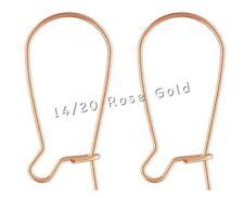 14k Rose Gold Filled Ear Wires Kidney Ear Hooks Posts Earwire Rose Gold Earrings