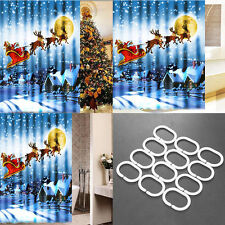 Christmas Shower Curtain 180x180cm Bathroom Sleigh Tub Santa Polyester Xmas UK