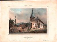 Lithographie Couleur XIXe vue de Saint Geoire Isère 1835