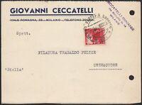 AA6572 Ditta Giovanni Ceccatelli - Milano 1947 - Cartolina commerciale d'epoca