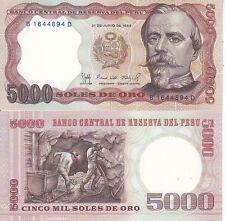 PERU' 5000 SOLES DE ORO 1985 FDS UNC