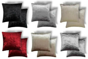 """2 X LUXURIOUS CRUSHED VELVET THICK CUSHION COVERS WITH INNERS 17"""" - 43CM"""