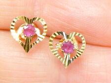 9ct Gold Ruby Stud Heart Earrings