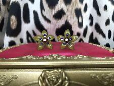 Tarina Tarantino Olive Green Swarovski Purple Brown Crystal Flower Stud Earrings