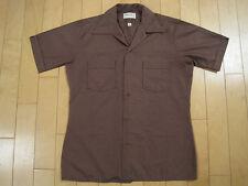 EDDIE VEDDER STYLE 80s vtg BROWN button up SHORT SLEEVE shirt LOOP COLLAR medium