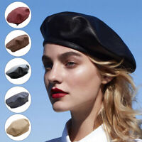 Fashion Women Leather Beret Hat Beanie Cap Retro Military French Hat Waterproof
