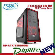 Deepcool Tesseract SW Black/Red Mid Tower Side Window Inc 2xRED 120mm LED Fans