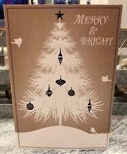 Pretty White Kraft Brown Vintage Look Glitter Christmas Tree Card Pinecone