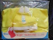 Baby Bunting w/Bunny Ears Yellow, Zip-up, Triboro Washable Acrylic Zip New/Old