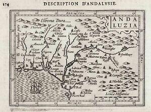 Andalucia Espana Spain Spanien Espagne mapa grabado map Karte Bertius 1618