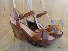 MOOTSIES TOOTSIES Wedge High Heel Sandals Size 8.5 Brown Snake Skin Ankle Strap