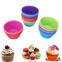 12pcs Silicone Cake Muffin Chocolate Cupcake Liner Baking Cup Cookie Mold NEW