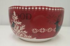 """222 FIFTH NORTHWOOD COTTAGE 6"""" CEREAL BOWL CANDY RED CHRISTMAS DEER BIRD CERAMIC"""