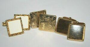 Men's Cufflinks Gold Colour Golden Everyday Wedding Square Cuff Links 3 Types