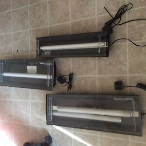 3 x Florescent Aquarium Canopy's with 4 Bulbs