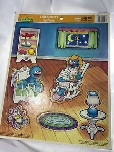 """Vintage Sesame Street Babies Frame Tray Little Grovers Bedtime Puzzle 14.5"""""""