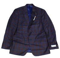 Hart Schaffner Marx Mens Sport Coat Blue Burgundy Size 40 Plaid Blazer $595 056
