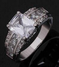 Rare Size 10 White Sapphire 18K Gold Filled Men Womens Engagement Wedding Rings