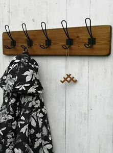 HANDMADE School RETRO style WOODEN Coat Rack with black WIRE hooks, 9 colours