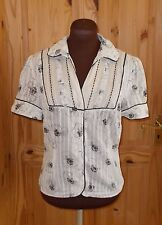NEXT cream black poppies floral striped short sleeve blouse shirt top 12 40