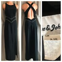 80's Party Prom Dress Deep Plunge Cross Back Faux Diamond Black Ball Gown 9-10