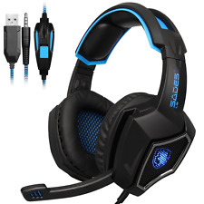 [Gaming Headset für PS4] Kopfhörer PC Stereo Mikrofon USB LED Schwarz+