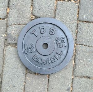 "25 Lb SINGLE Barbell Weight Plate Standard 1"" TDS brand."