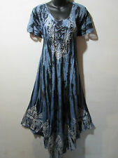 Dress Fits 1X 2X 3X Plus Long Sundress Black Gray Lace Sleeves A Shaped NWT 6601