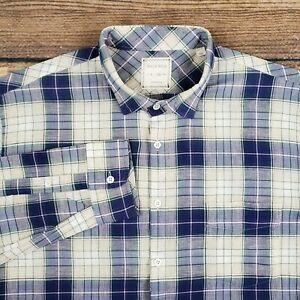 Billy Reid Men's XL Button Up Shirt Blue Plaid Linen Cotton Standard Cut