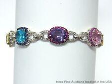 14k Diamond Natural Sapphire Ruby Bracelet White Gold Multi Gem 7.25in Long
