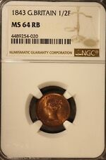 1843 Great Britain 1/2 Farthing NGC MS 64 RB      ** FREE U.S SHIPPING **
