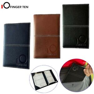 Golf Score Card Holder Deluxe PU with Free 2 Score Sheet Yardage Book Cover Gift
