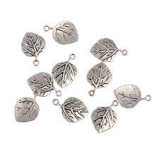 10pcs Veined Leaf Tibetan Silver Bead Charms Pendants Fit DIY 22*15mm