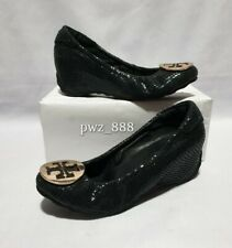 TORY BURCH Black Leather Wedge Shoes Size 34