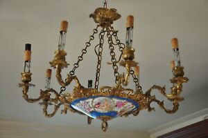 French, Louis XV Inspired, 19th Century Bronze and Porcelain Chandelier