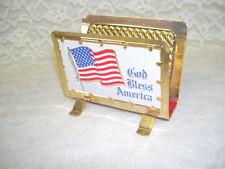 AMERICAN FLAG HOLDERETTE GOLD PLATED USA NIB PATRIOTIC LETTERS MEMOS NAPKIN