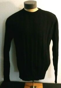 Men Neiman Marcus Exclusive Solid Black Ribbed KnitCashmere Crewneck Sweater Med