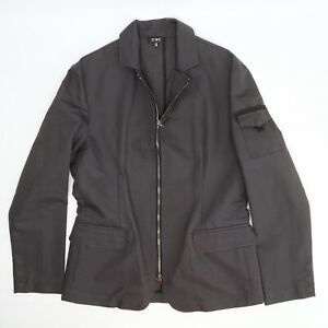CNC Costume National Mens Jacket 34/48 Solid Dark Gray Full Zip Snap Cuff Giacca
