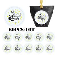 60pcs/lot Eid Mubarak Stickers Box Label Paper Seal Gift Decor Muslim Ramadan