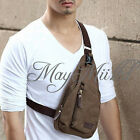 Men's Canvas Military Messenger Shoulder Travel Hiking Fanny Bag Backpack S