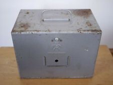 Vintage 50s Brumberger Super 8mm Film Reel Holder Carry Case Hammered Metal Box