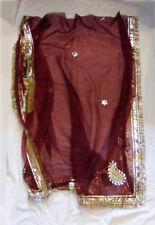 Indian Sari Burgundy Blouse, Wrap & Skirt Set