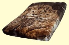 Licensed Solaron Lions Korean Thick Mink Soft Plush King Size Blanket Brown
