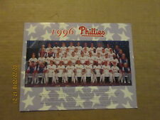 MLB Philadelphia Phillies Vintage Circa 1996 Color 81/2x11 Baseball Team Photo