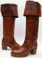 WOMENS VINTAGE FRYE 8690 CUFF BROWN LEATHER TALL COWBOY WESTERN BOOTS SZ 6 B 6B