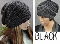 Black White Knit Unisex Slouch Beanie Hat Winter Fashion Fall Style New