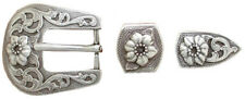 "Western Equestrian Tack (2) Raised Flower Buckle Set's For 3/4"" Leather"
