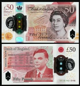 UK ENGLAND NEW £50 - POLYMER - 23 June 2021 - UNC - Alan Turing - AA Serial *QWC